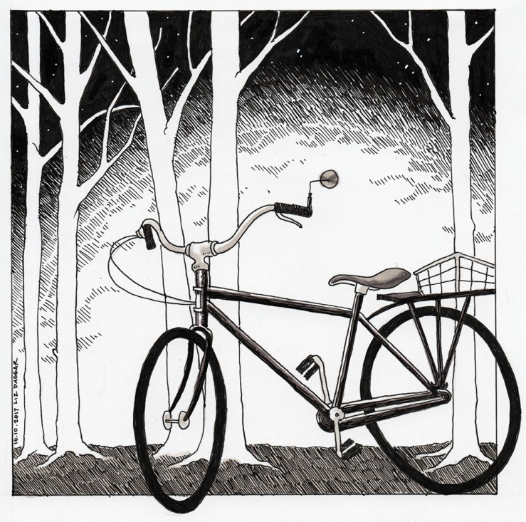 ink drawing of a bicycle in the woods