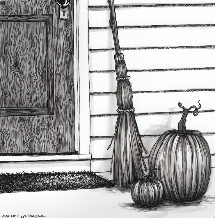 ink drawing of pumpkins on a porch