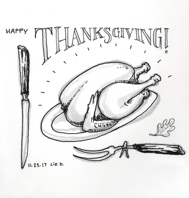 drawing of a turkey for dinner