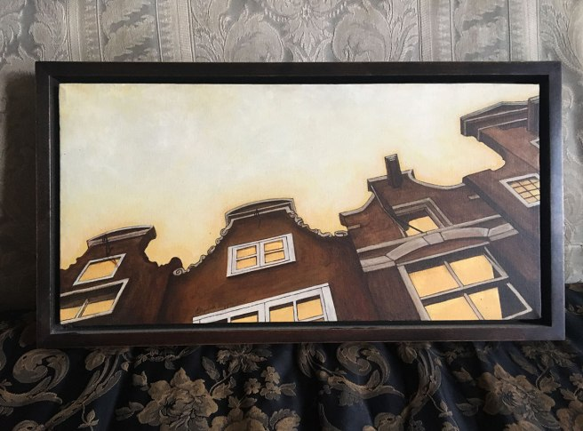 Painting of Amsterdam rooftops by E Daggar