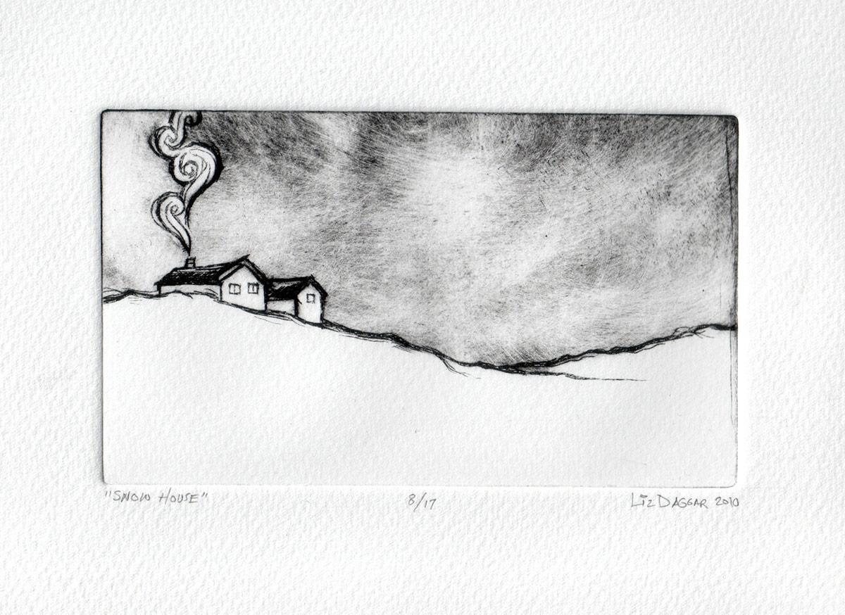 Dry-point on plexi print of a house insnow