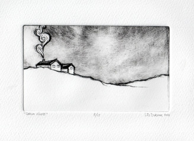 Dry-point on plexi print of a house insnow
