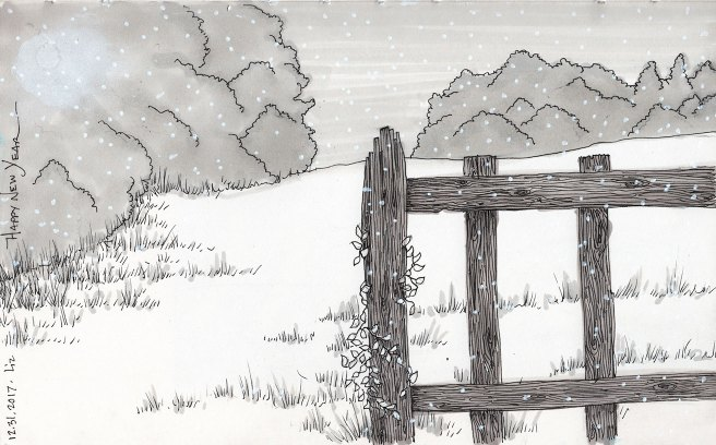ink sketch of a fence and field, trees in the distance