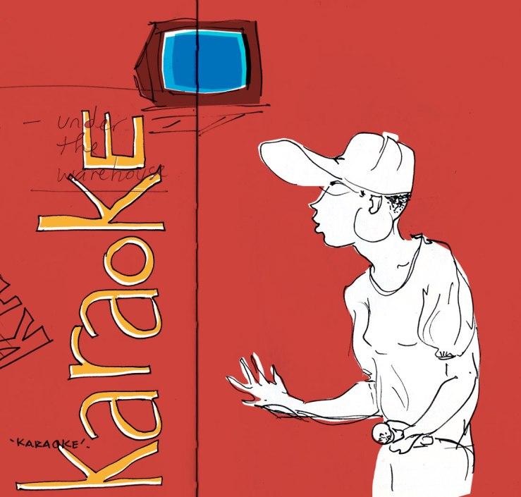drawing of someone singing karake