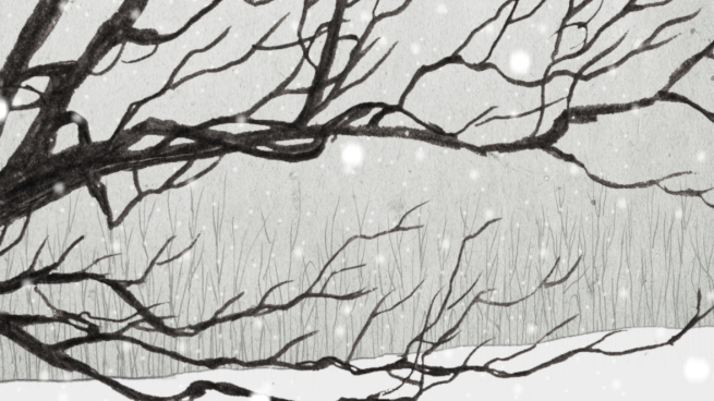 pencil snowscape with oak tree