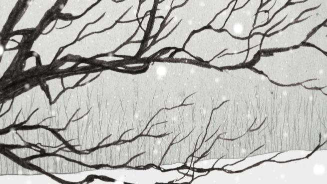 pencil snowscape with oak tree