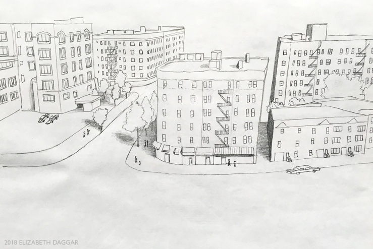 drawing of buildings from aerial view