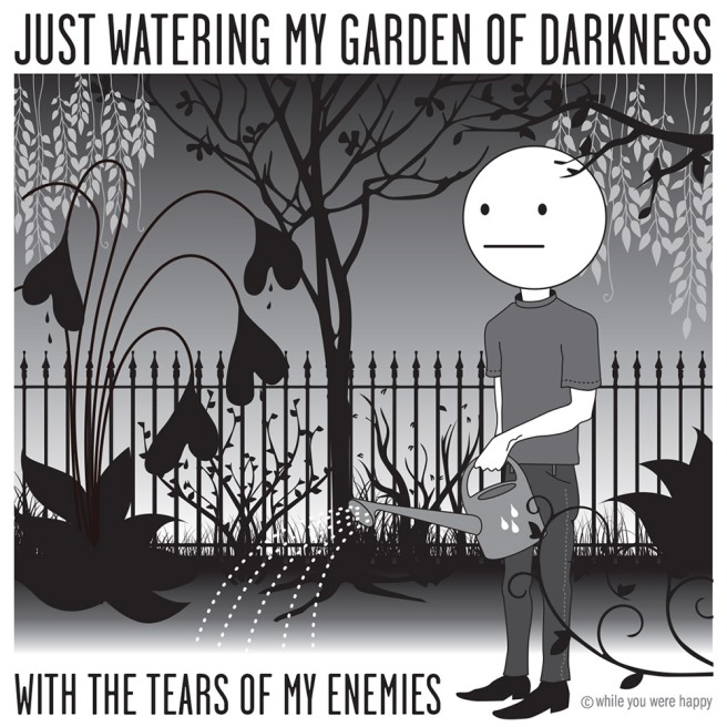 Cartoon of a nonplussed emoji watering a creepy garden
