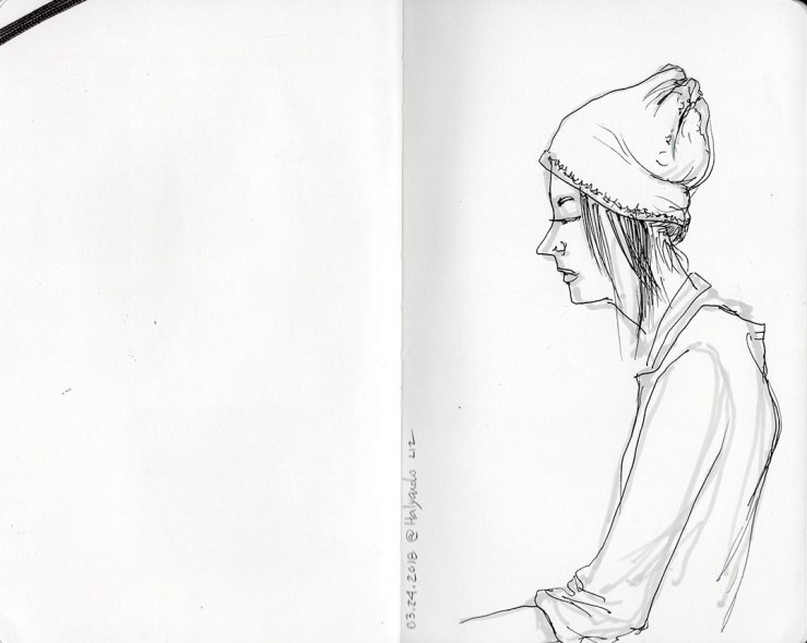 ink sketch of the woman behind the bar