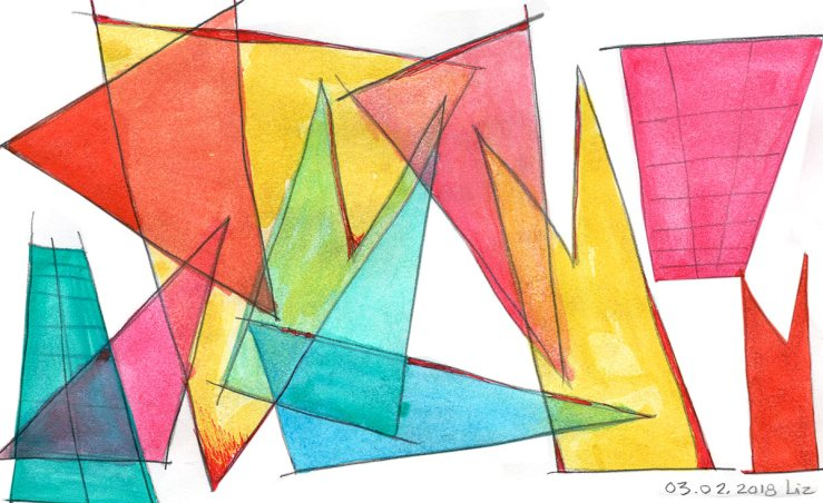 abstract geometric watercolor composition
