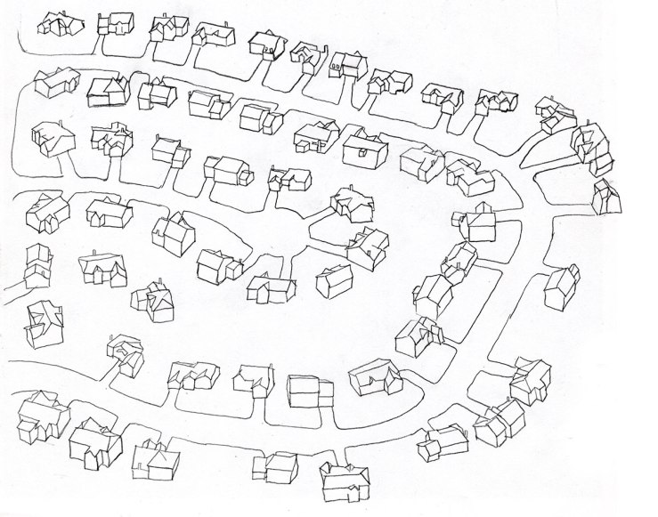 linear drawing of a suburb, view'd from above