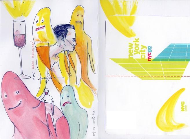 watercolor drawings of banana people