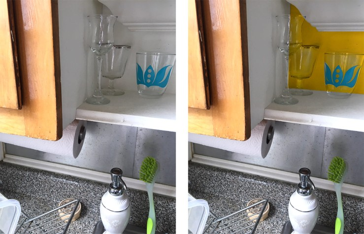 before and after kitchen accent color