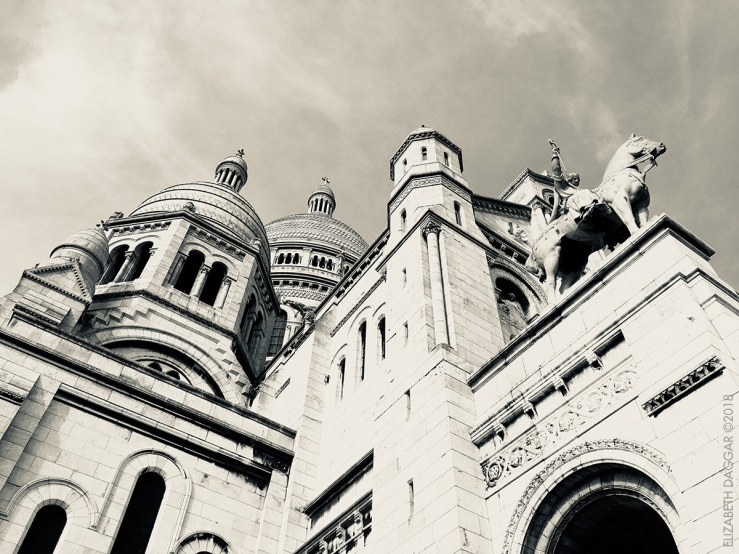 Sacre Coeur blackand white photo angle from below
