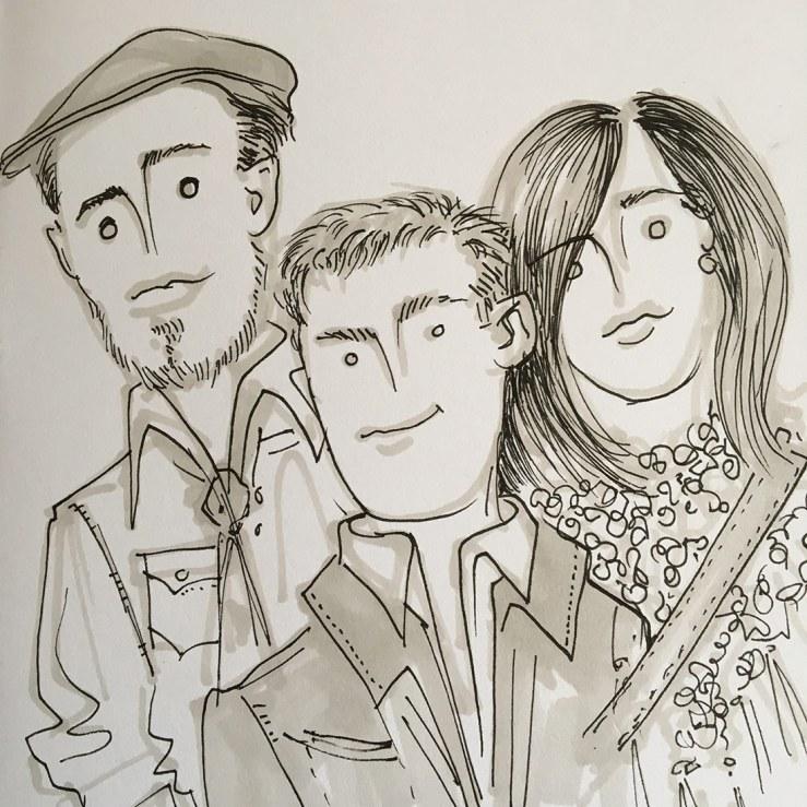 cartoonish drawing of zac jon and i