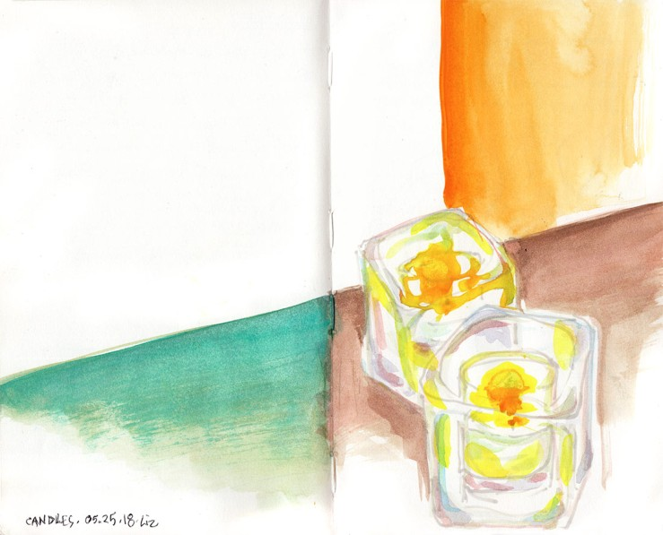 watercolor sketch of some candles, in normal color