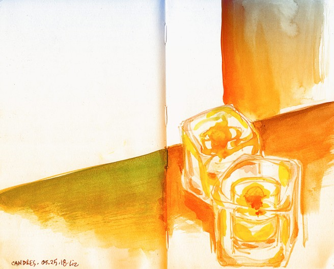 watercolor sketch of some candles, in filtered monochrome color