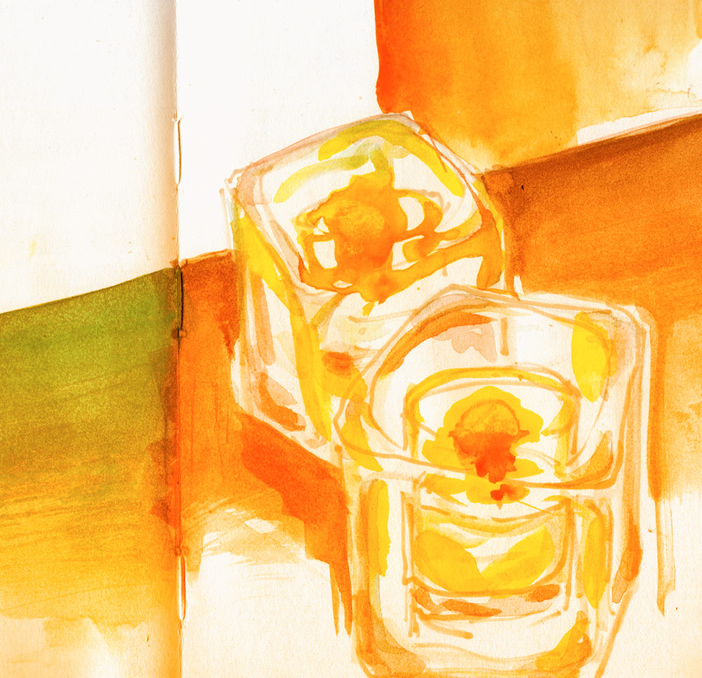 watercolor sketch of some candles