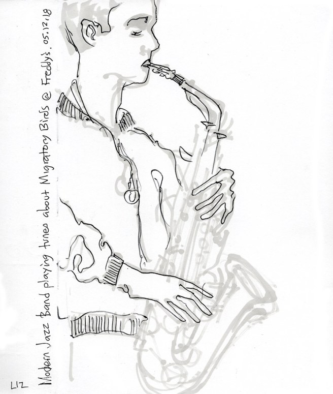 sketch of an alto sax player