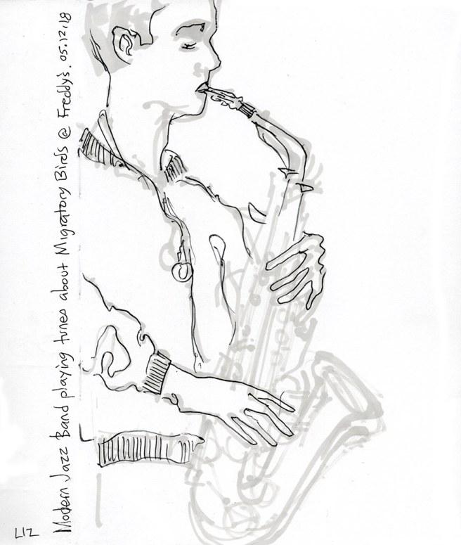 sketch of an alto sax player