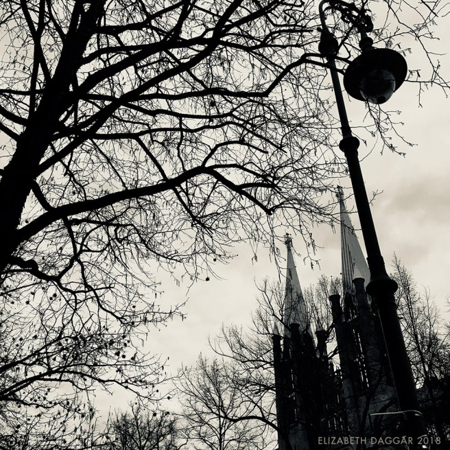 b&w photo of a lamp post, tree branches and spires in Berlin