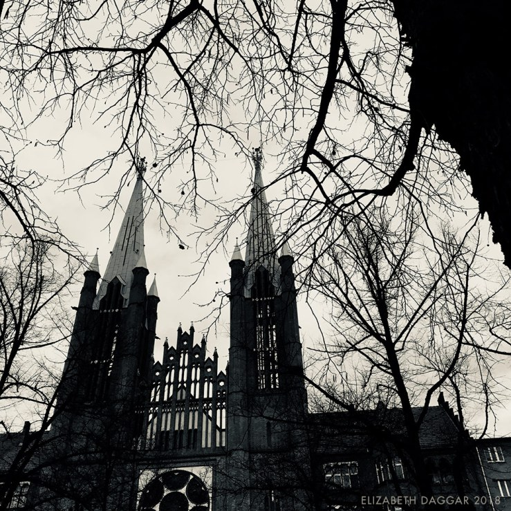b&w photo of a cathedral surrounded by stark winter trees in Berlin