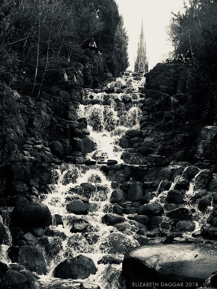 b&w photo of the waterfalls in Viktoria Park, Berlin