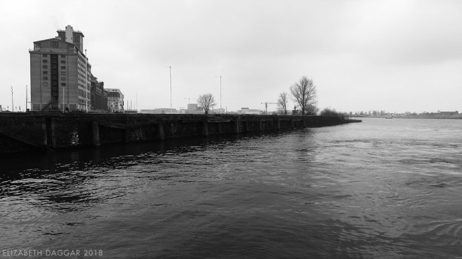 B&W photo of the shore where we catch the ferry