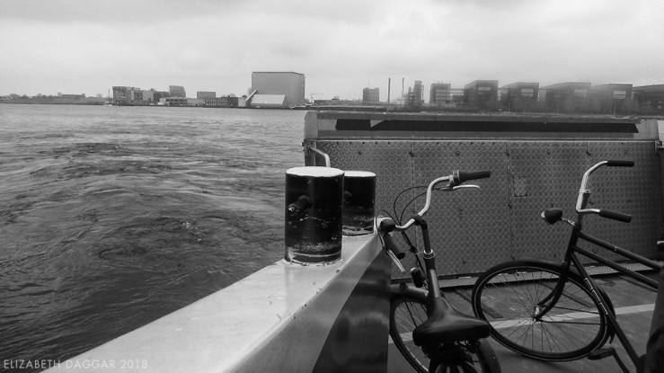 B&W photo of our bikes on the ferry from Centraal Station