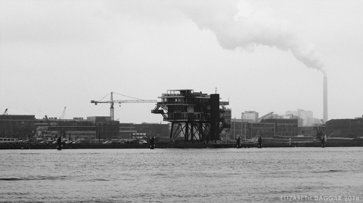 B&W photo of the industrial shoreline