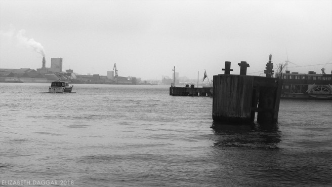 B&W photo of the harbor area