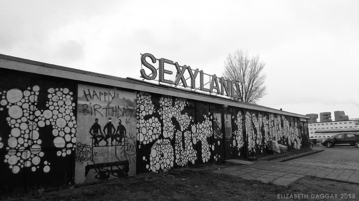 B&W photo of a club called Sexyland in Amsterdam Noord