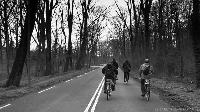 b&w photo of our bike posse