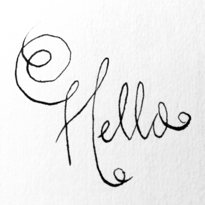 "pen and ink ""Hello"" script"