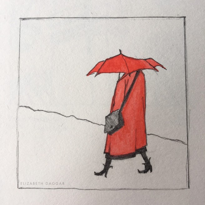 diminutive sketch of a woman with red raincoat and red umbrella
