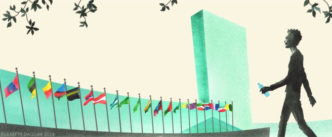 Watercolor illustration of Aquarius at the UN