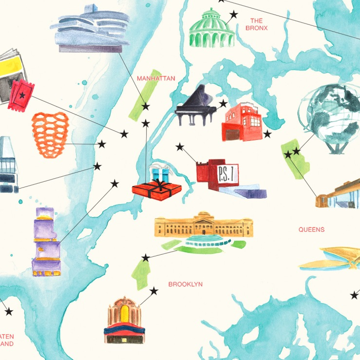 NYC cartography of culture watercolor map