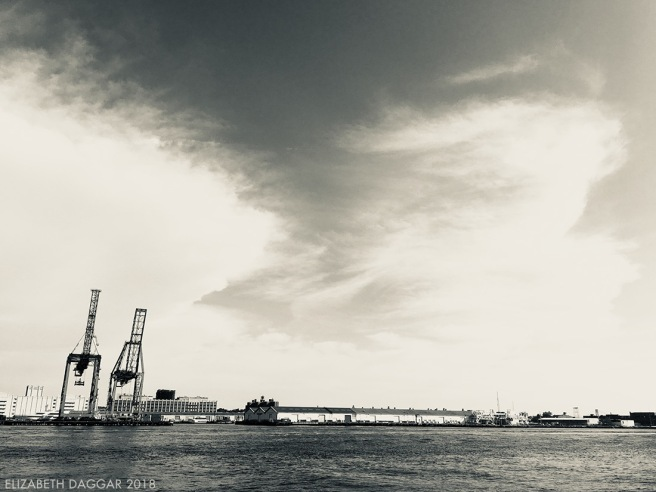 View of Red Hook industrial waterfront from Governors Island