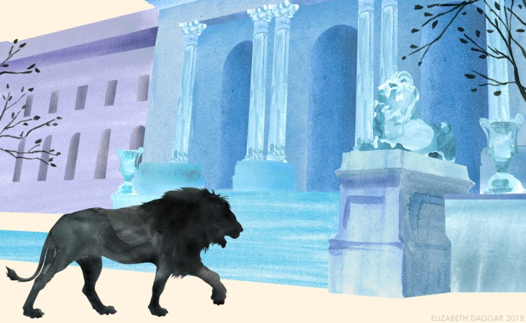 Watercolor illustration of Leo at the NY Public Library