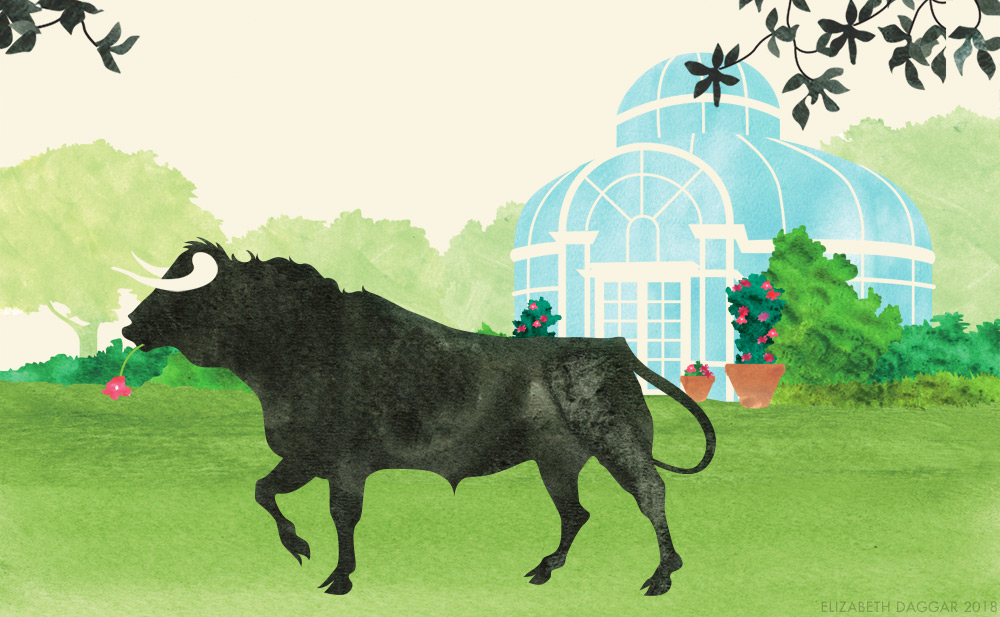 Watercolor illustration of Taurus at the Brooklyn Botanic Garden