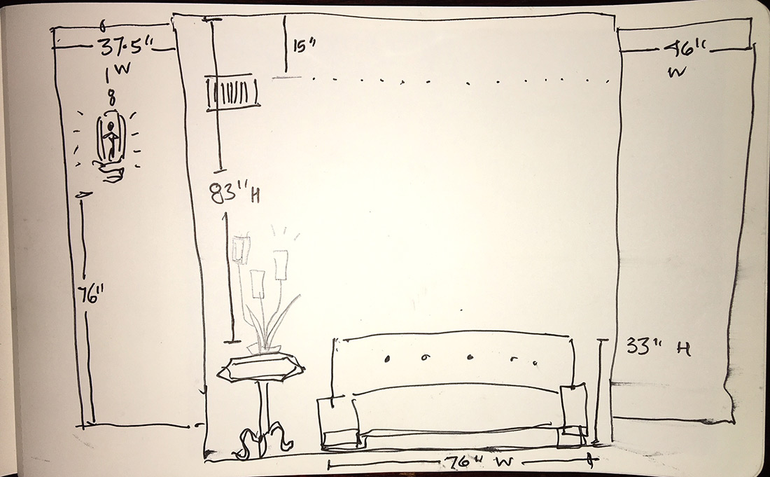 drawing of a wall needing art, w measurements