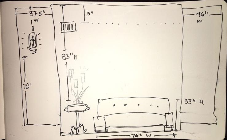 drawing of a wall needing art, w measurements