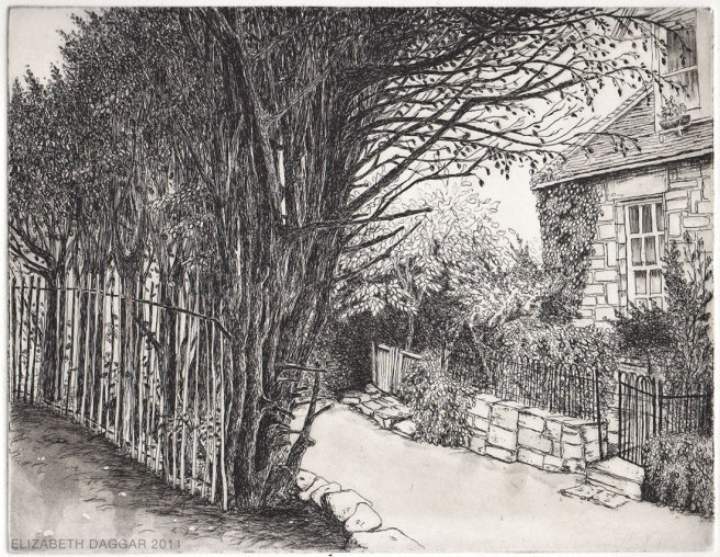 Scene of a country lane done with etching technique