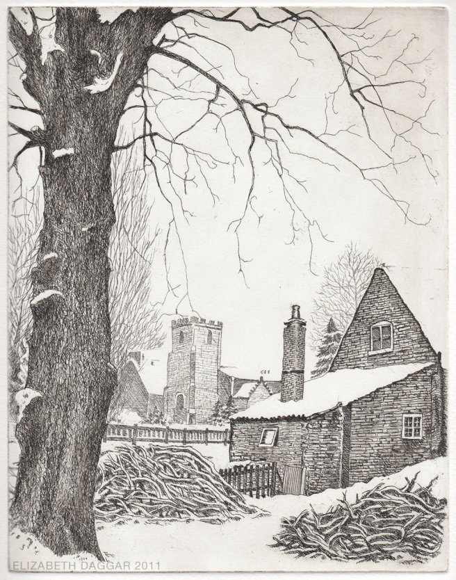 copperplate etching of a scene in snow
