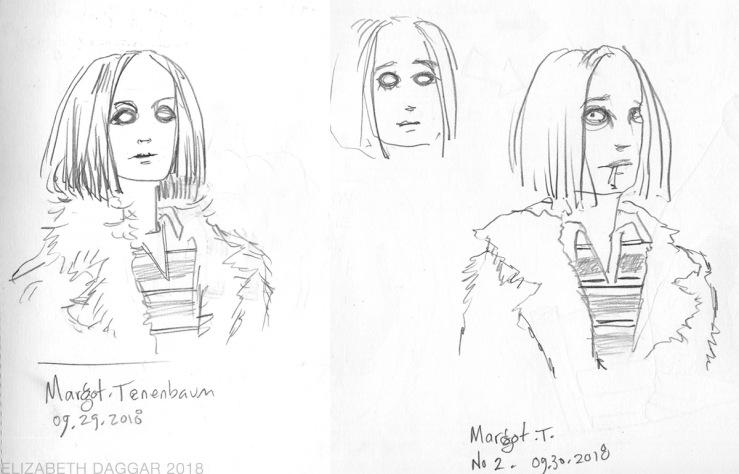 sketches of Margot Tenenbaum