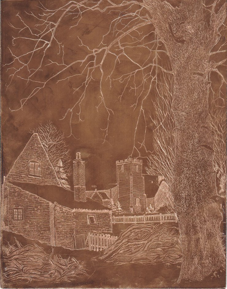 copper plate in progress of Cottage under Snow
