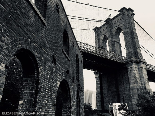 Brooklyn Bridger seen from DUMBO in the rain