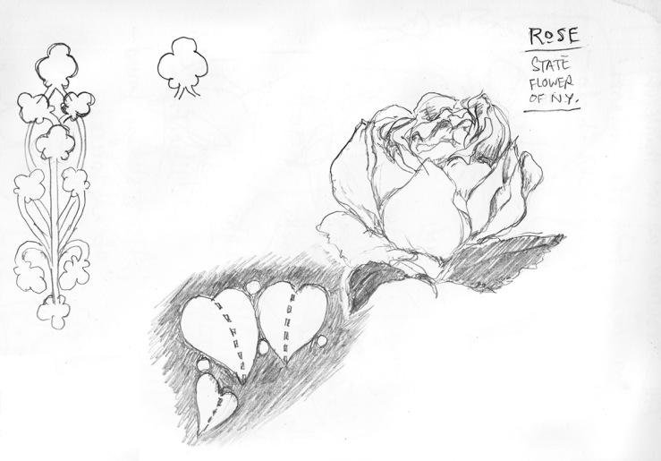 sketches of roses