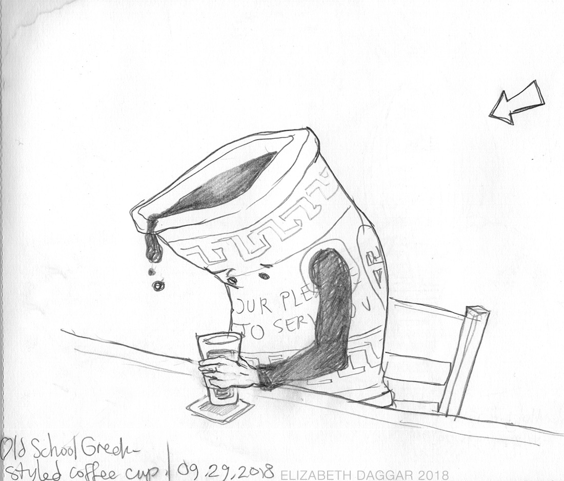 pencil caricature of classic NYC greek coffee cup
