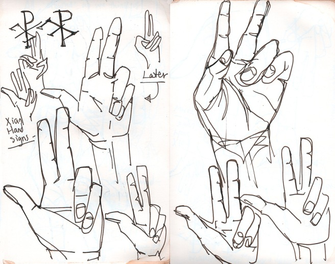 early christian hand signs seen in art